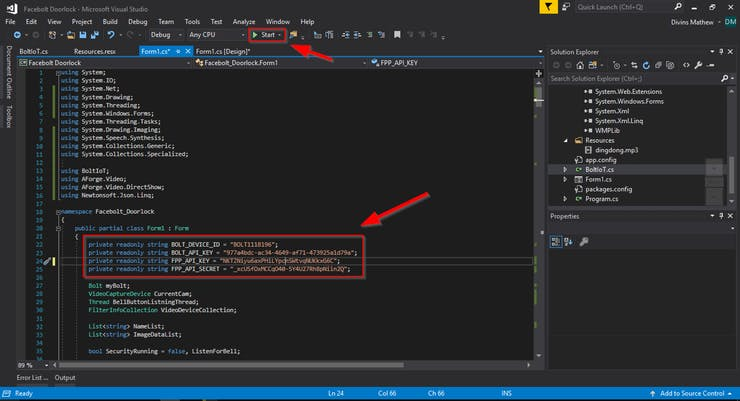 modify API credentails and run