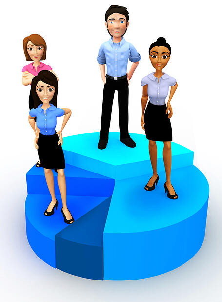 3D business group standing on a pie chart - isolated over a white background